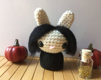 Professor Serverus Snape Moon Bun - Bunny Rabbit Amigurumi - October Create a Day Challenge Doll