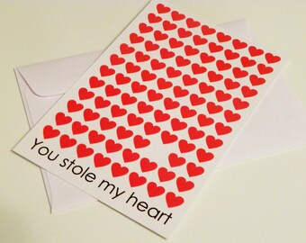 Romantic Card Valentine Card You Stole My Heart Love Card Valentines Day Card for Wife Card for Girlfriend Card for Her