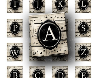 INSTANT DOWNLOAD Digital Images Collage Sheet Antique Paper Music Notes Alphabet Scrabble .75 x .873 Inch for Pendants (S46)
