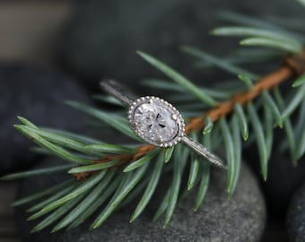 14k White Gold Moissanite Ring, Oval Vintage Inspired East to West Engagement Ring, Conflict Free, Made to order