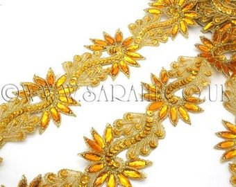YELLOW GOLD RHINESTONE beaded trim,trimming,costume,sequin edging,stones,beads,costume,fashion,art,crafts,sewing,embellishment,decoration