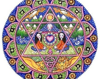 4th Chakra Mandala Art Card heart anahata inspirational meditation yoga wall art spiritual wall decor whimsical folk art