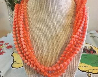 1950s multistrand beaded bib necklace.