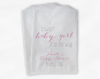 Sweet Baby Girl On The Way Baby Shower Candy Buffet Treat Bags - Set of 25 Baby Pink Personalized Favor Bags (0181)
