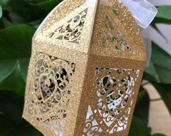100pcs Gold Glitter Favor Box,Sparkling Party Favor wedding Favor Boxes,Laser Cut Wedding Gift Boxes,Paper Boxes with ribbon,Candy Packaging