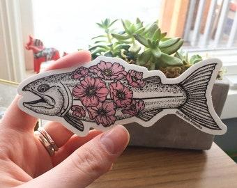 Flower Salmon Sticker