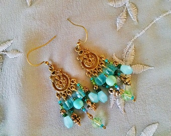 Turquoise chandelier earrings, Bohemian gypsy Antique Gold chandelier turquoise  earrings