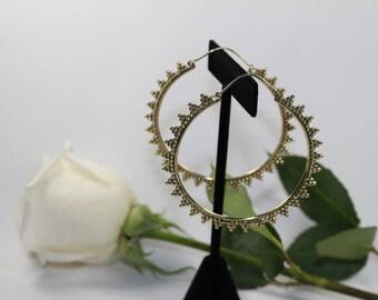 Brass Triangle Dot Earrings