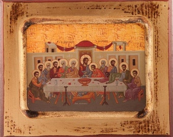 Last Supper Wood Icon. Christ's Last Supper. Wooden Last Supper Icon. Last Supper Plaque.