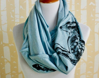 Leaping Fawn Infinity Scarf in your choice of colors, hand printed original illustration, American grown and sewn