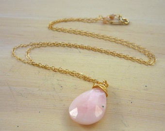 14kt gold filled wire wrapped pink opal briolette pendant necklace handmade by Lush Baubles on etsy.