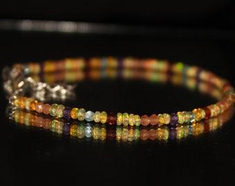 Amethyst Bracelet, Apatite Bracelet, Sunstone Bracelet, Opal Rondelle, Beaded Bracelet, Dainty bracelet,6 Inch Bracelet,Garnet Bracelet 0039