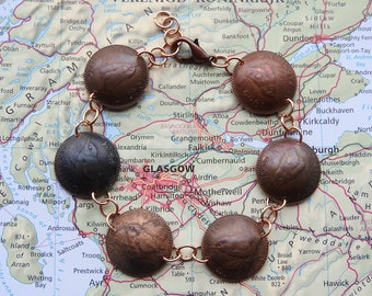 United Kingdom bird coin bracelet - curved - made of original coins - farthing - bird jewelry