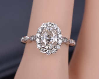 Floral Style Moissanite Engagement Ring 14K white Gold Natural Diamond Ring Bridal Wedding Band promise ring anniversary ring Oval gemstone