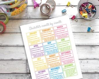 Declutter Printable, De-clutter Schedule, Cleaning Printable, Spring Cleaning Schedule, Yearly Declutter Chart,