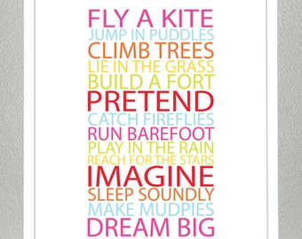 Kids room wall art,  BE A KID - Bold Girl Colors- 8x10 Poster