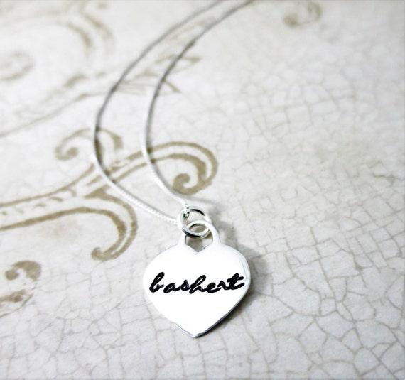 Bashert Necklace - Beshert Necklace - Sterling Silver Heart - Script Font - Destiny Jewelry - Soulmate Jewelry - Jewish Jewelry - Yiddish