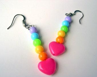 Rainbow dangle earrings  with heart fairy kei sweet lolita