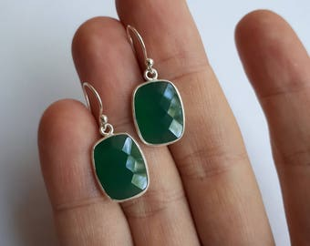 Faceted green onyx earrings, 92.5 sterling silver, free shipping