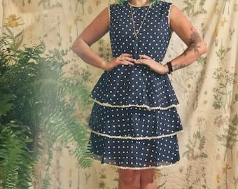 60s Tiered Polka Dot Dress