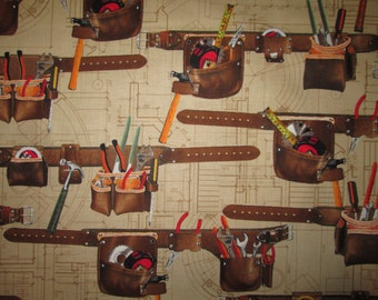 Tools Tool Belt Hammer Nails Cotton Fabric Fat Quarter Or Custon Listing