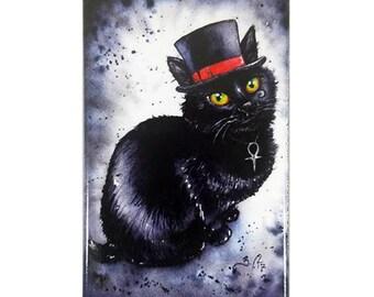 Death Kitten Magnet: Watercolour Sandman Black Cat