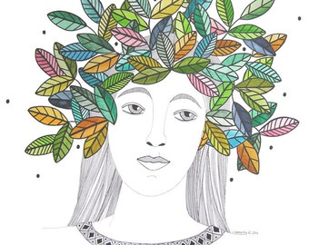 Original Art Illustration Drawing Painting Watercolor Crown Of Leaves Multicolored Portrait Of Woman Graphic Art