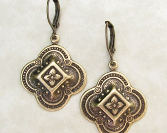 Quatrefoil Earrings - Quatrefoil Jewelry -Medallions Brass Ox Leverback Earrings
