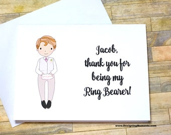Thank you for being my Ring Bearer Wedding Card - Personalized Ring Bearer Wedding Card - Bridal Party - Flower Girl - Custom Card DM241