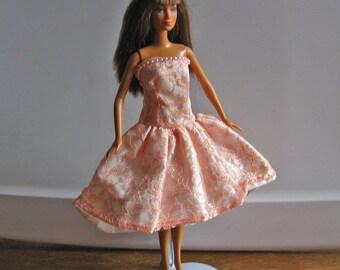 Barbie Peach Lace Strapless Party Dress