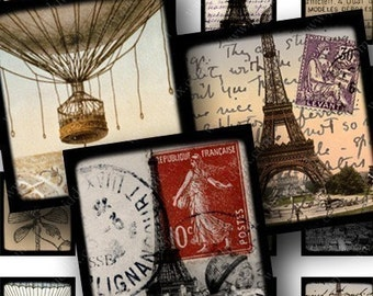 French Digital Collage Sheet .75 x .83 Inches Scrabble Tile Size Vintage Eiffel Tower France Paris French Stamps Postcard piddix 681