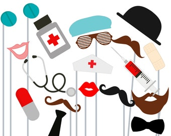 Print Yourself Doctor, Nurse Photo Booth Party Props