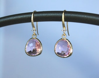 Faceted pink briolette earrings