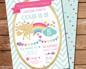 Unicorn Party Invitation - Gold Glitter Rainbow Unicorn Invitation Instantly Download and Edit at home with Adobe Reader