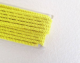 1.1 yards neon yellow , 5 mm twist cord, twisted , Wrapped Thread Cord, Satin Twisted cord , Decoration,Fabric Rope Trim Accent for Crafting