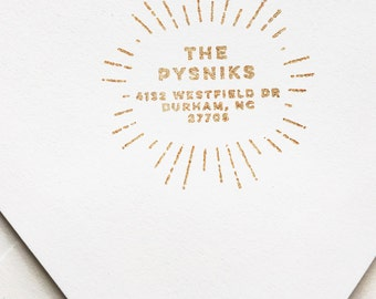 Custom Retro Style Address Stamp Vintage Inspired Rays of Light Rubber Stamp Wood Handle Simple Sophisticated Understated Art Deco