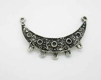 Medieval Necklace Connector with Beading Holes, Pewter Pendant 54-45mm (1)