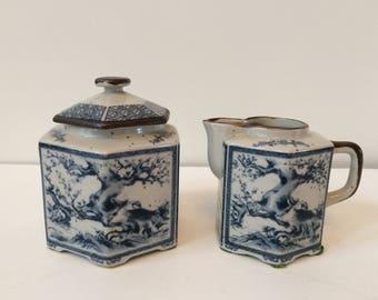 vintage Asian sugar & creamer set / Chinoiserie