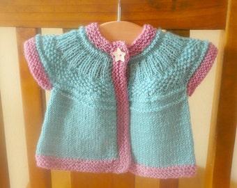 Knitting Pattern Cardigan Sweater -  Seren Top Down Seamless Yoked (6 Sizes, 0 - 7 yrs)