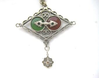 ANTIQUE VICTORIAN PENDANT: victorian antique glass pendant. antique  victorian necklace. Vintage victorian pendant necklace.