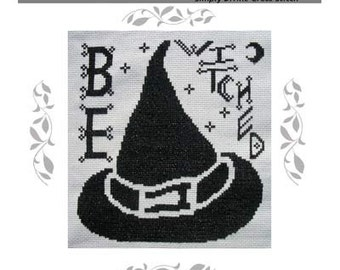 PDF E pattern emailed Primitive Halloween Witch Cross Stitch Pattern Sampler 104