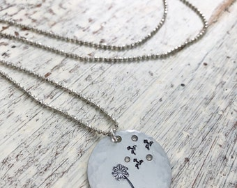 Beauty of the Gospel - Romans 10 - Hamd Stamped Dandelion Necklace - Christian Jewelry - Beautiful Feet - Good News - Gospel of Peace