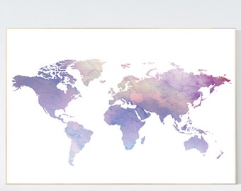 World map poster, Pastel world map, purple wall prints, World map art, baby's nursery room decor, toddler room, purple color, pastel color