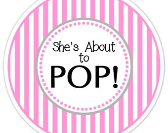 Baby Shower About to Pop labels, Hot Pink Stripes, About to Pop Stickers, Baby Shower Labels