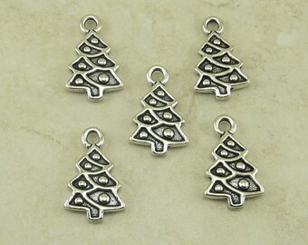 5 TierraCast Christmas Tree Charms > Holiday Noble Fir Pine Tree - Silver Plated Lead Free Pewter - I ship Internationally - 2351