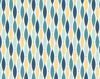 FLANNEL Cotton Lures in Teal Yellow and Navy Blue 100% Cotton by Riley Blake Sold in 1/4, 1/2, 3/4 and a YARD Sewing /Quilting /Applique