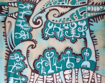 Hand painted silk scarf. Turquoise and beige silk scarf.  Made to order.