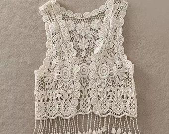 Crochet Lace Cover Vest girls