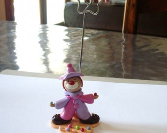 wearing pink and purple polymer clay clown pictures