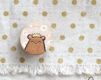 Hand-Painted Beary Royal Bear (Copper Brown) - Wooden Necklace Pin-back Brooch